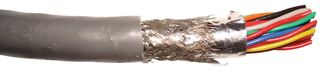 SHIELDED CABLE MULTIPAIR, 18PAIR, 22AWG, 100FT, 300V, CHROME