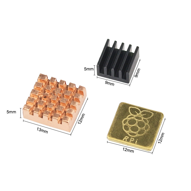 Heat Sink 3Pcs KIT for Raspberry Pi 2/3 , 1Aluminum+2 Copper with Logo Cooling Pad
