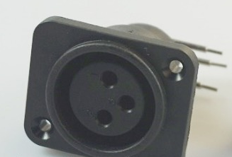 XLR Audio Connector, Right angle , 3 Contacts, Socket, Panel Mount, Plastic Body