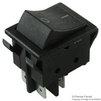 SWITCH, ROCKER, DPST, 16A, 250V, BLACK