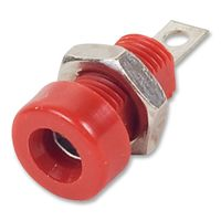 BANANA SOCKET, 15A, 4MM, PANEL, RED