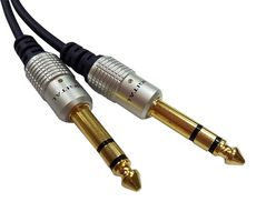 "Audio / Video Cable Assembly, 2 m L, 6.35mm (1/4"") Stereo Jack Plug, 6.35mm (1/4"") Stereo Jack Plug, PLUG-PLUG, BLUE"